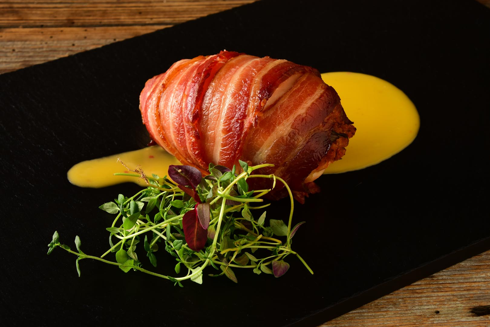 Chicken wrapped with bacon
