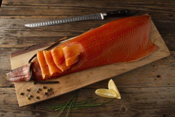 Smoked salmon sliced
