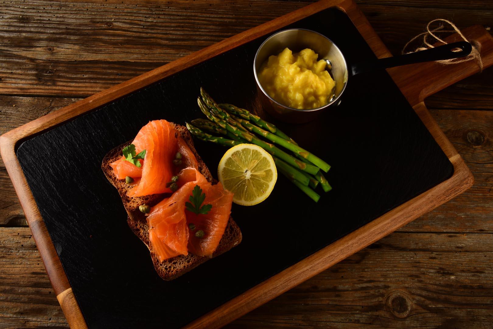 Smoked salmon plated