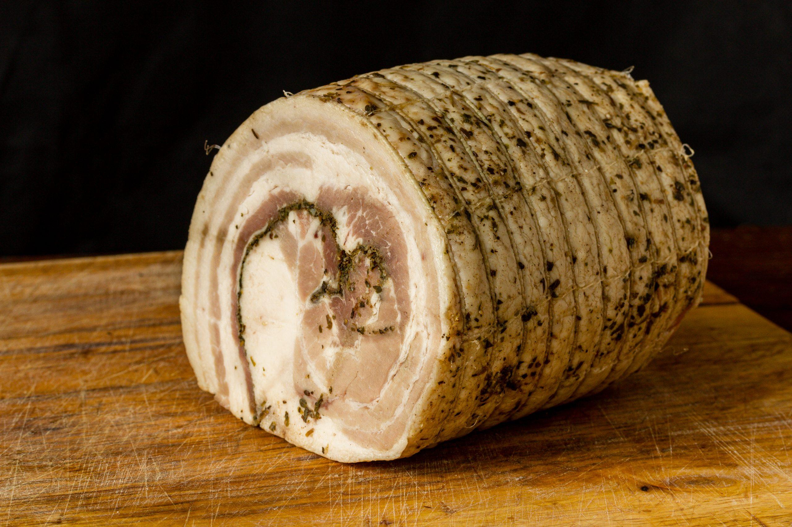 pork, pork belly, herbs, cooked, Italian