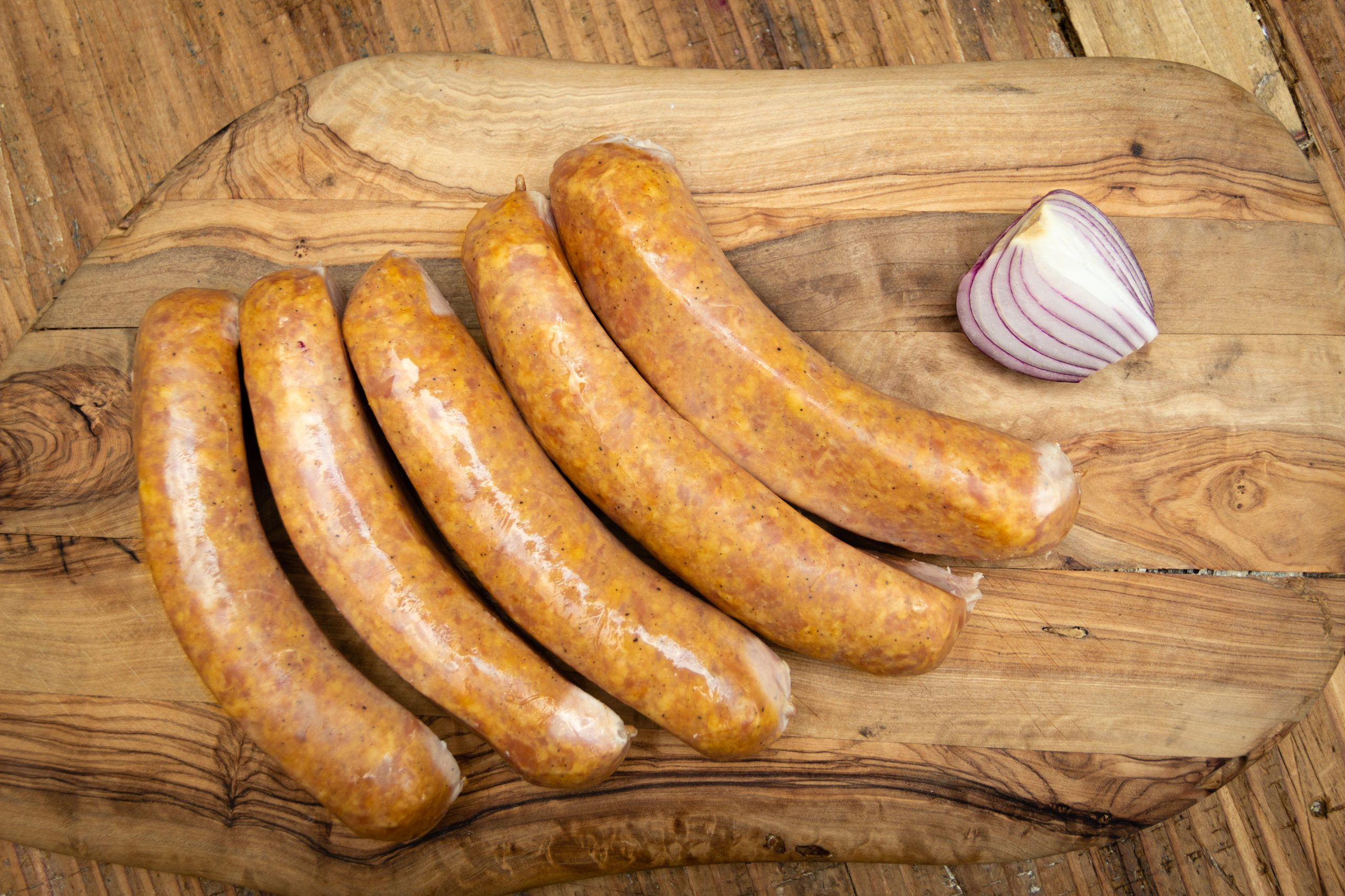 A smoky bratwurst-style sausage
