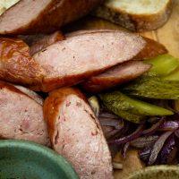 smoky cooked bratwurst sausage