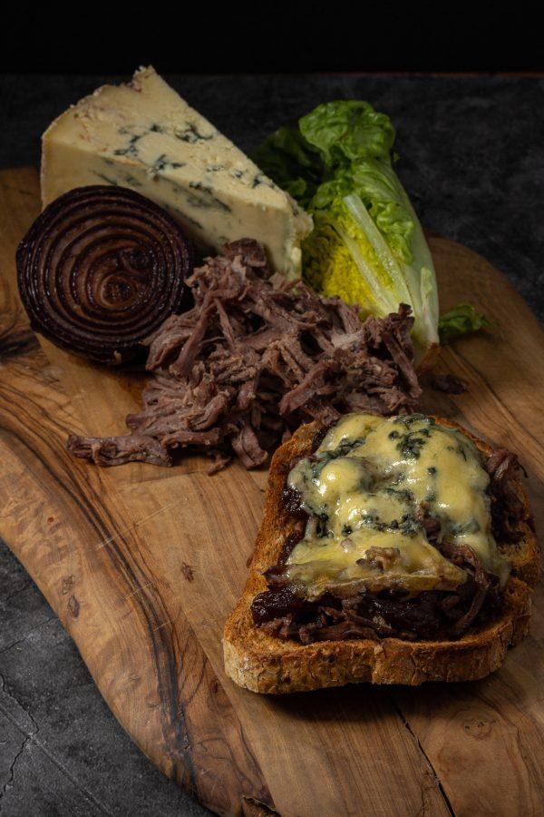 Pulled Beef and Blue Stilton on Toast